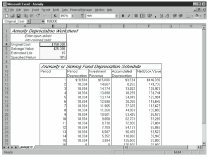 Figure 15-4. The annuity or sinking fund depreciation starter workbook.